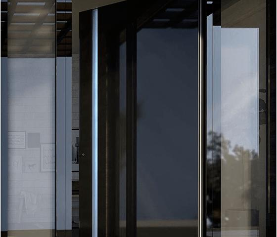 Usa exterior cu Rupere Termica 1020 Black Glass Sidelights